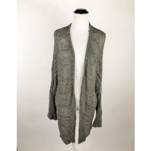 Umgee Crochet Knit Sage Green Open Front Cardigan